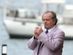 Jack Nicholson filming The Departed in Boston's Long Wharf, photographed June 28, 2005 by James Devaney for Getty Images.