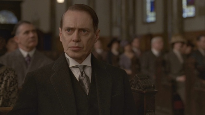 He looks reasonably concerned, but a guy like Nucky should be sweating a lot more inside a church.