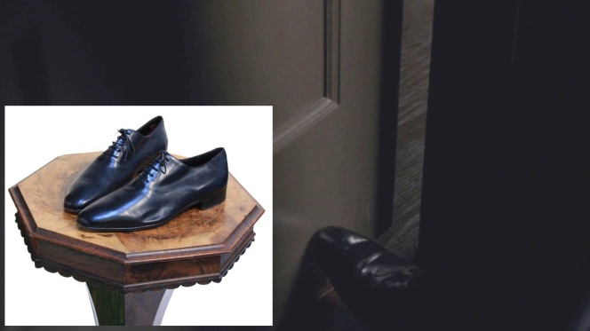 Chalky prods a door open with his foot, wearing one of the well-shined black calf oxfords (inset) that were auctioned off after the show's run.