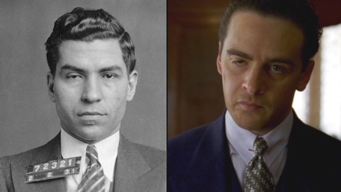 "A tale of two Luckies: The real Luciano's February 1931 mugshot (left) and Piazza as Luciano in a scene set several months later (right). Note the drooping left eye, the result of a scar left by Salvatore Maranzano's faction many months prior after Lucky was ""taken for a one-way ride""...and lived to tell about it. (Hence his nickname.)"