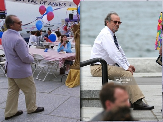 (Left) Costello makes his date with the angels. (Right) A contemplative Nicholson sits on location at the Long Wharf.