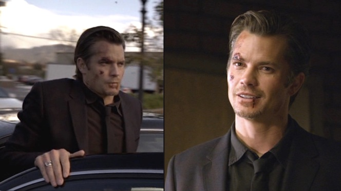"Raylan's not looking his best when he goes to meet with the enigmatic, neurotic, and idiosyncratic Wynn Duty (Jere Burns) in ""Hatless"" (Episode 1.09) after a barroom brawl leaves him in the titular predicament."