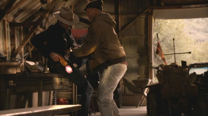 "Based on the wedge in front of the trigger guard, it appears to be the Bianchi holster that Raylan blasts a hole through during a struggle in ""Cottonmouth"" (Episode 2.05)."