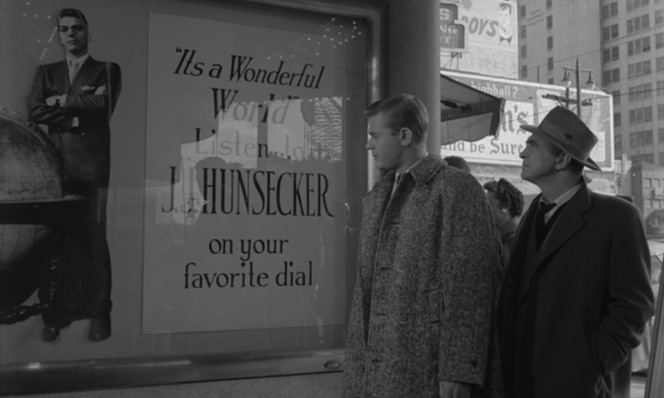 Steve Dallas (Martin Milner) and Frank D'Angelo (Sam Levene) can't escape the powerful presence of J.J. Hunsecker, even before entering his studio.