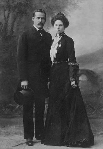 The newly married (perhaps) Harry Longbaugh and Etta Place in New York City, February 1901, en route South America.