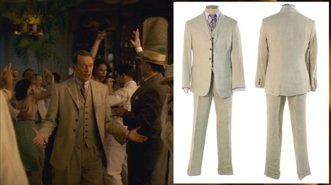 (Left) Nucky's linen suit in action. (Right) Nucky's linen suit at auction.