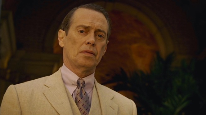 Season five's first glimpse at Nucky is a stoic one, hardly the face you'd expect from someone about to embark on a night of drinking and dancing in Prohibition-era Havana.