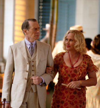 "Steve Buscemi and Patricia Arquette as Enoch ""Nucky"" Thompson and Sally Wheet on Boardwalk Empire."