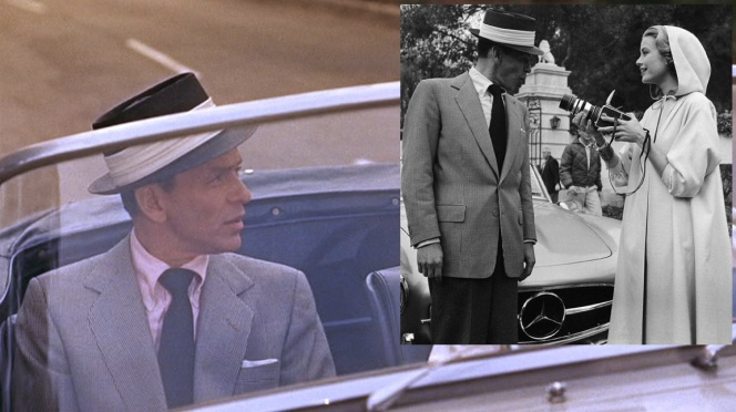 One of Sinatra's iconic straw porkpie hats, seen on-screen and fooling around for Grace Kelly's camera behind the scenes.