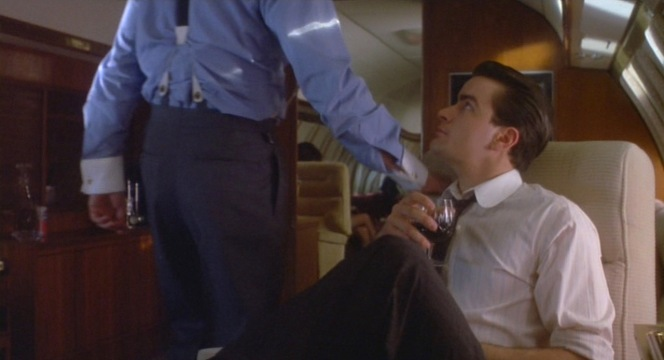 An earlier scene of Gekko and Bud in mid-flight reveals the typical details of Gekko's suit trousers.
