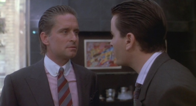 """Staring contests are easy when both men are the same height. (In the case of Michael Douglas and Charlie Sheen, that height would be 5'10"""".)"""