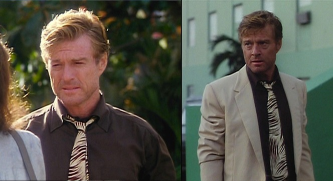 As Redford learned in The Sting, high stakes poker games require a tie... of course, they never say just what that tie should or shouldn't look like, allowing Jack Weil the freedom to dangle a piece of silk-printed '50s decadence around his neck.