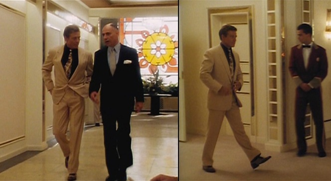 Big shot that he is, Jack Weil exudes confidence as he struts into Joe Volpi's private poker game, accompanied by Joe (Alan Arkin) himself.