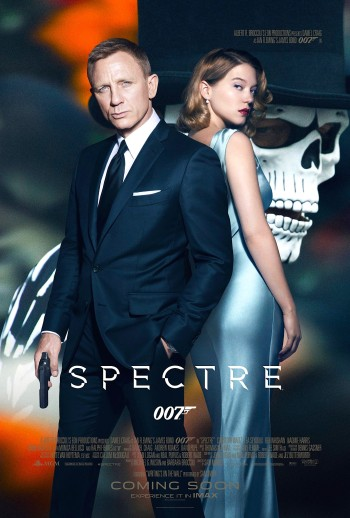 Theatrical poster for Spectre (2015) featuring Daniel Craig (in this navy sharkskin suit) and Léa Seydoux