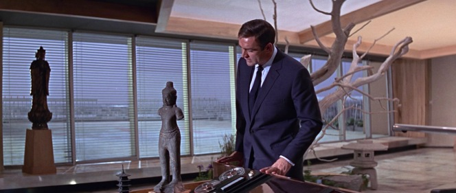 Bond checks out Osato's distinctive office decor, made all the more impressive by its lack of visible damage from his fight in said office the previous evening.