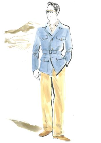 Joanna Johnston's costume sketch that would lead to Brad Pitt's blue safari jacket in Allied.