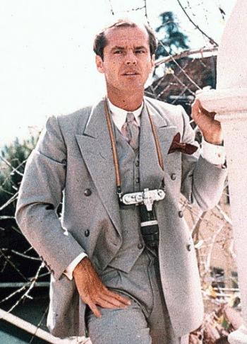 Jack Nicholson on set as J.J. Gittes in Chinatown (1974)