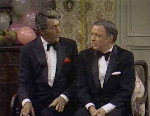Dean Martin with guest Frank Sinatra during one of his many appearances. This particular episode is from New Year's Eve 1970.