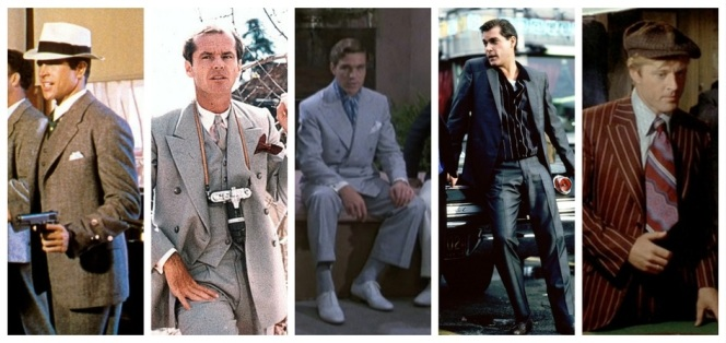 Warren Beatty in Bonnie and Clyde (1967), Jack Nicholson in Chinatown (1974), Nicholas Clay in Evil Under the Sun (1982), Ray Liotta in Goodfellas (1990), and Robert Redford in The Sting (1973)