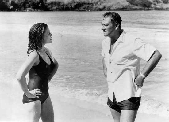 Elizabeth Allen and John Wayne in a promotional photo from Donovan's Reef.