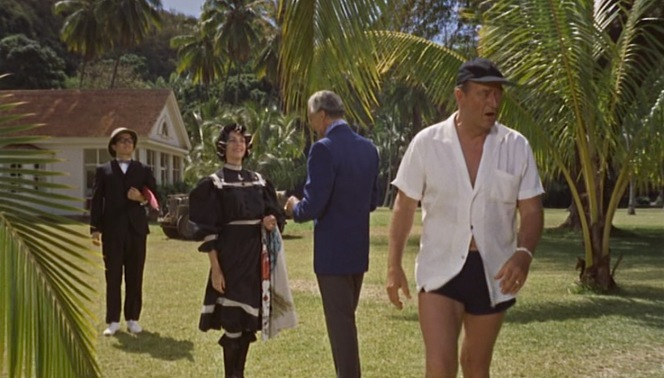 "Cringeworthy sexism and racism abound in the dialogue of Donovan's Reef, but Guns' comment about Amelia's ""Miss Bunker Hill"" bathing costume is actually pretty good."