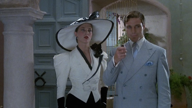 Nicholas Clay as Patrick Redfern in Evil Under the Sun (1982), pictured here with Jane Birkin