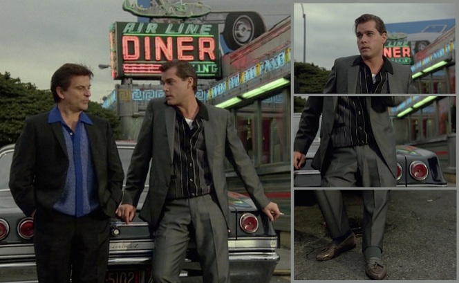Ray Liotta as Henry Hill in Goodfellas (1963). Left: Joe Pesci and Liotta on screen. Right: The iconic vertical tracking shot that introduces the adult Henry to audiences
