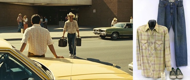 (Left) Llewelyn Moss arrives in Del Rio with few, but valuable, belongings. (Right) Llewelyn's screen-worn shirt, jeans, and Converse sneakers, as featured in this listing.
