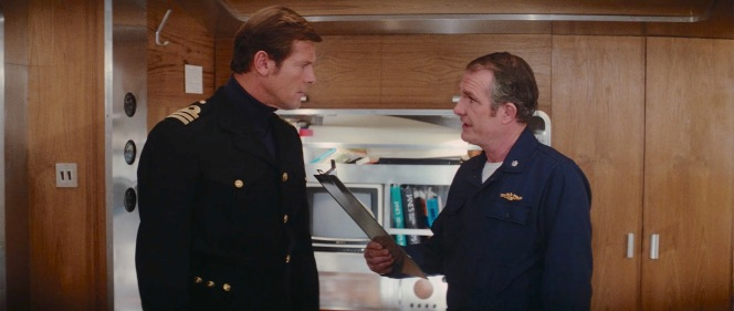 Bond with Commander Carter (Shane Rimmer, the Canadian character actor who made his 007 franchise debut ten years earlier in You Only Live Twice.)