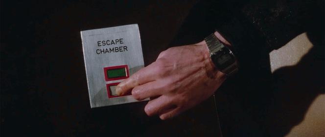 Bond finds convenient means of escape.