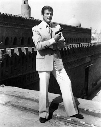 Roger Moore on location in Egypt, filming The Spy Who Loved Me in the fall of 1976.