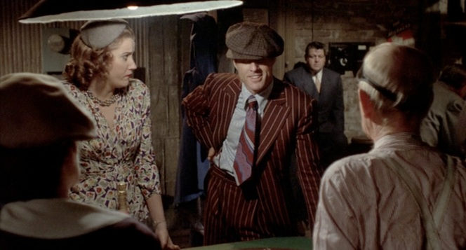 Robert Redford as Johnny Hooker in The Sting (1973), pictured here with Sally Kirkland