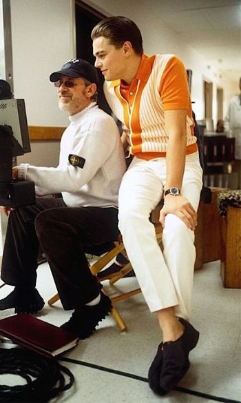 DiCaprio and Spielberg on set.