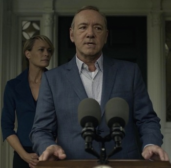 "Kevin Spacey as President Frank Underwood (with Robin Wright as Claire Underwood) in ""Chapter 40"" of House of Cards (2016)."