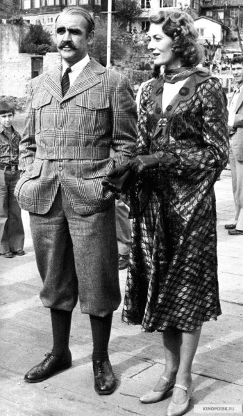 Sean Connery and Vanessa Redgrave on set in Istanbul during production of Murder on the Orient Express (1974)