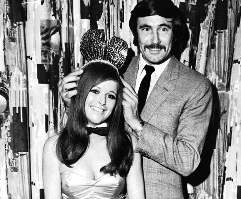 "George Lazenby crowns Diana Turner as 1969's ""Bunny of the Year"". Congratulations, Diana."