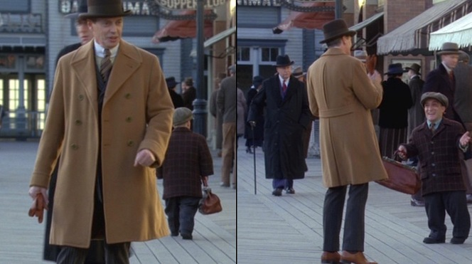 """The Ivory Tower"" also features Nucky's new footwear, a pair of tan leather oxfords worn with burgundy dress socks. Evidently, the black-and-tan spectator shoes featured in the credits didn't survive his trip to the beach..."
