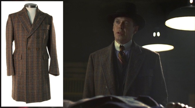 "Nucky's brown plaid overcoat was also auctioned by ScreenBid, giving us a better look than the dark glimpses we get in ""Broadway Limited"" (episode 1.03)."
