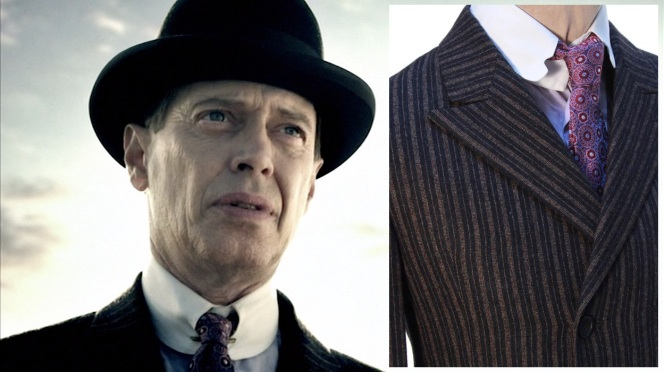 Left: Steve Buscemi, seen in the Boardwalk Empire opening credits. Right: The suit jacket, shirt, collar, and tie worn in the credits sequence (Source: ScreenBid.)