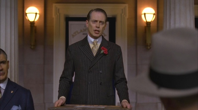 "Perhaps to indicate the solemnity of his announcement, Nucky wears his jacket closed for the one and only time in ""A Return to Normalcy"" (episode 1.12)."