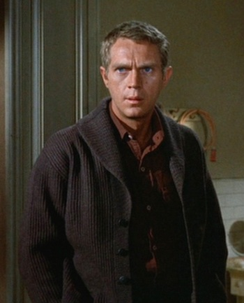 "Steve McQueen as Eric ""The Kid"" Stoner in The Cincinnati Kid (1965)"