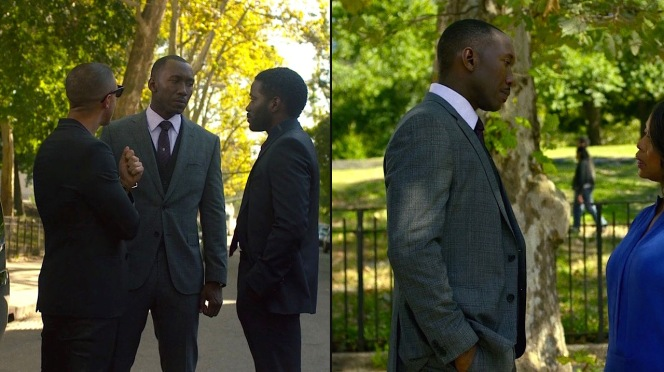 Best seen when Cornell wears his jacket buttoned, the suit jacket is tailored with a classic drape cut to emphasize Mahershala Ali's strong physique and the character's imposing presence.