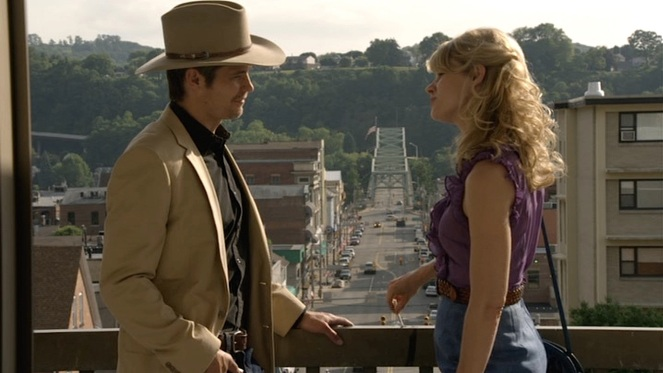 Though the interior of the courthouse was in Washington, Pennsylvania, Raylan and Ava find themselves on the balcony of the Armstrong County Courthouse in Kittanning, 70 miles northeast, with the city's famous Citizens Bridge in the background between them. This bridge would also famously be featured in The Mothman Prophecies (2002).
