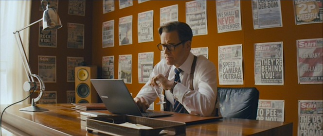 """Harry explains the headlines of The Sun littering the walls of his office: """"Front page news and all these occasions are celebrity nonsense. Because it's the nature of Kingsman that our achievements remain secret. A gentleman's name should appear in the newspaper only three times: When he's born, when he marries, and when he dies. And we are, first and foremost, gentlemen."""""""