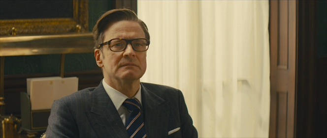Harry appropriately wears the Kingsman club tie during a meeting with fellow agents in the agency's headquarters.