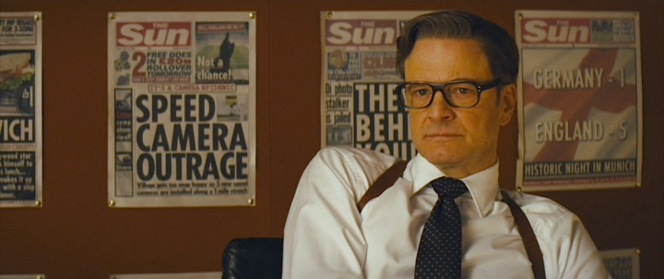 Harry Hart wears more suits than ties, wearing only his striped Kingsman tie and this polka-dot tie throughout the film.