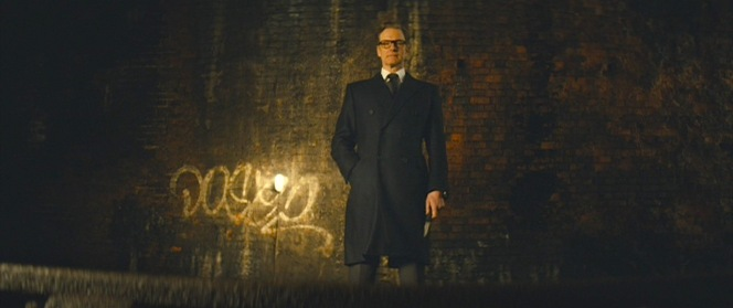 """Harry dons the archetypal """"badass long coat"""" when needing to infused some intimidation into Eggsy's training."""