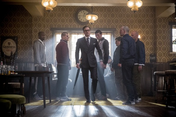 Never anything less than dignified, Harry prepares to make his point quite clear to Eggsy's antagonists.