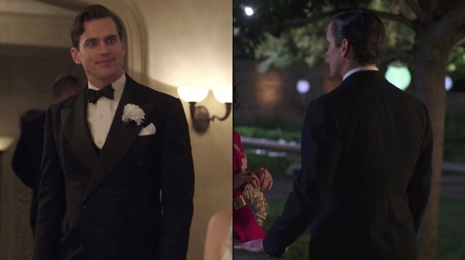 "(Left) A party in ""Eine Kleine Reichmusik"" (episode 5) calls for a white boutonnière. (Right) Monroe cuts a dashing figure on the evening of his engagement party in ""Oscar, Oscar, Oscar"" (episode 9)."