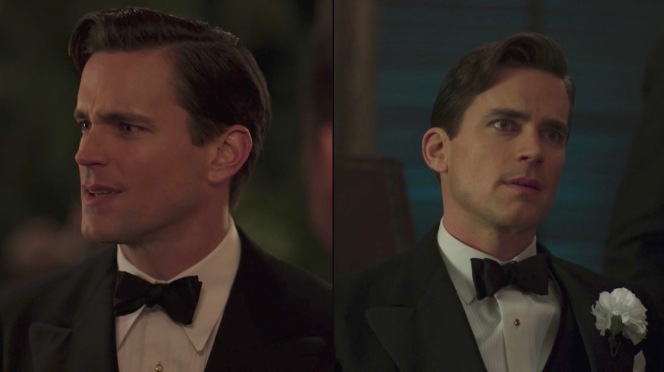 "(Right) A formal shirt with a semi-spread collar and narrow pleats, worn only in episode 5: ""Eine Kleine Reichmusik."""